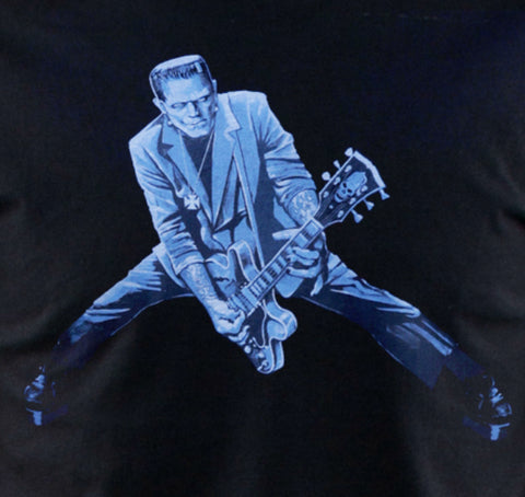 Frankenstein rock and roll monster playing guitar black tee