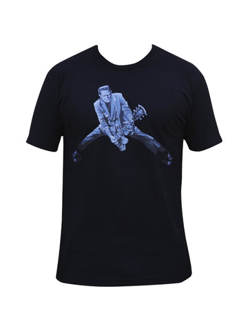 black mens tee with Frank Monster playing guitar