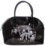 Addams Family shiny black vinyl bag with photo