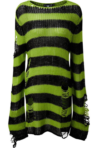 lime green and black striped extra long distressed sweater