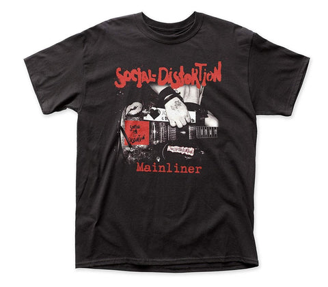 Social Distortion Mainliner black tshirt with Mike Ness arm playing guitar