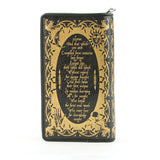 book of spells wallet back with spell in gold print