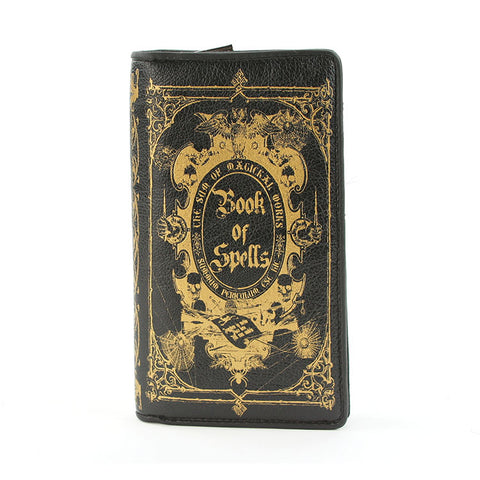 book of spells wallet black vinyl with gold print