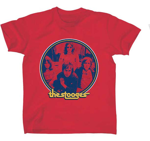 Stooges band photo in circle red tshirt retro look