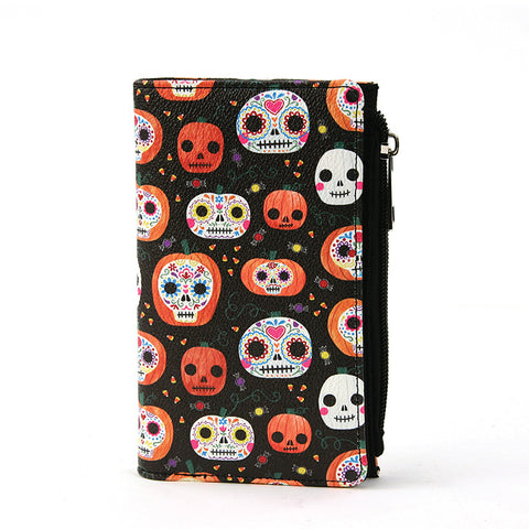black vinyl bifold wallet with sugar skull print