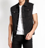 slim fit black denim vest with button closure chest pockets and side hand pockets
