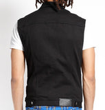 slim fit black denim vest back with Trash and Vaudeville branding