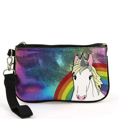 Unicorn in Rainbow iridescent wristlet