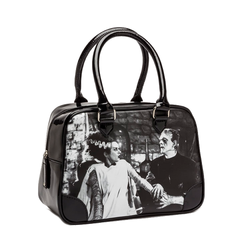 We Belong Dead Bride of Frankenstein black shiny vinyl bowler bag with Bride and Monster Rock Rebel