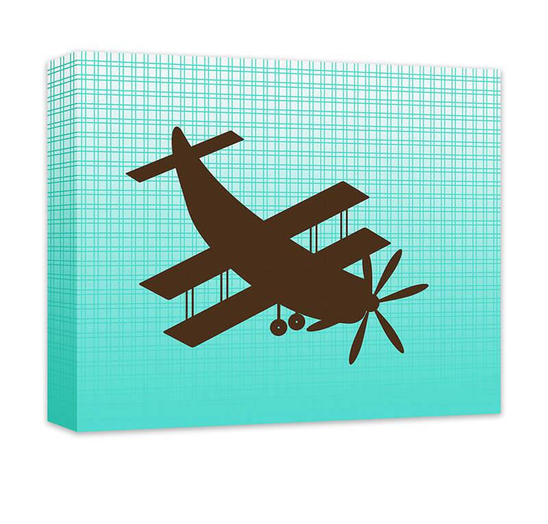 Biplane Aircraft Children's Airplane Canvas Wall Art - WallLillies