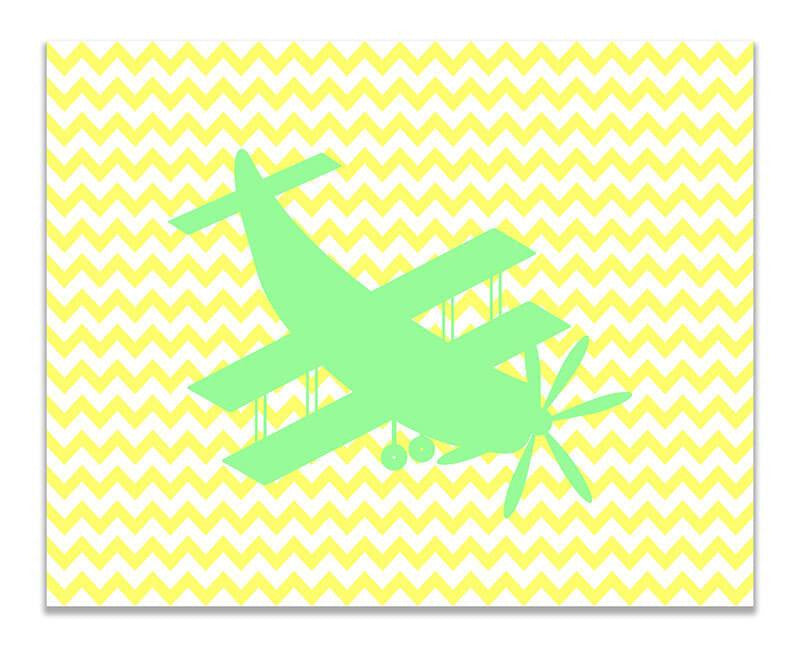 Biplane Aircraft Children's Airplane Print Wall Art - WallLillies