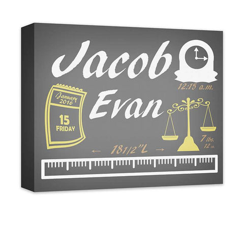Baby Boy Birth Announcement I Canvas Wall Art