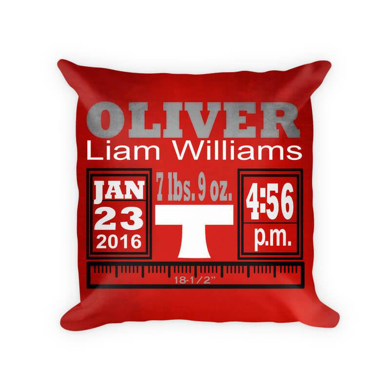 Baby Boy Birth Announcement II Woven Cotton Pillow
