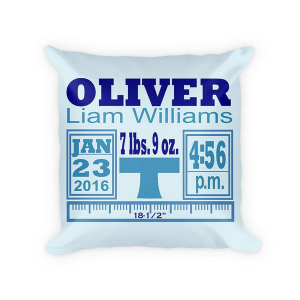 Baby Boy Birth Announcement II Cotton Poly Pillow - WallLillies