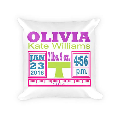 Baby Girl Birth Announcement II Cotton Poly Pillow
