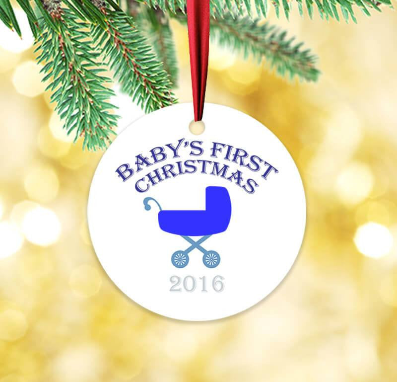Baby's First Christmas Blue Circle Ceramic Ornament - WallLillies