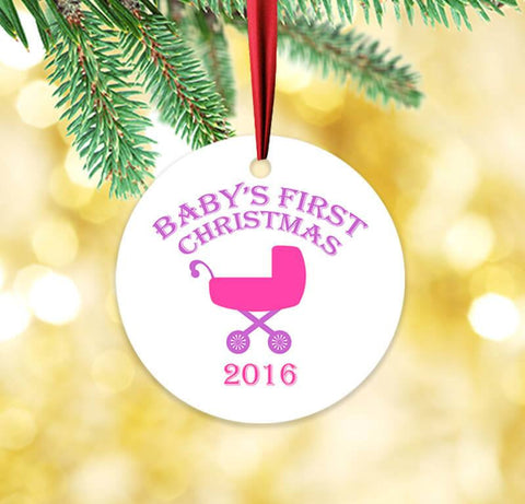 Baby's First Christmas Pink and Purple Circle Ceramic Ornament