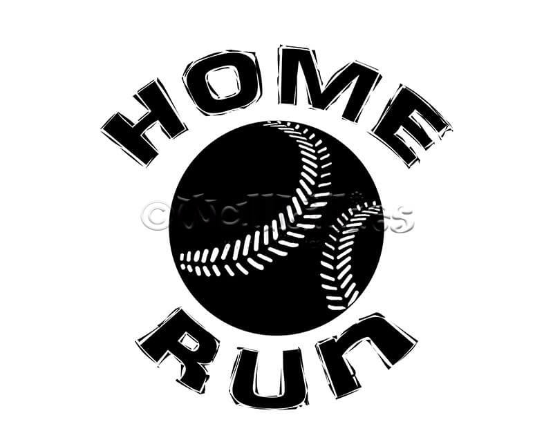 Home Run with Baseball Design Decal - WallLillies