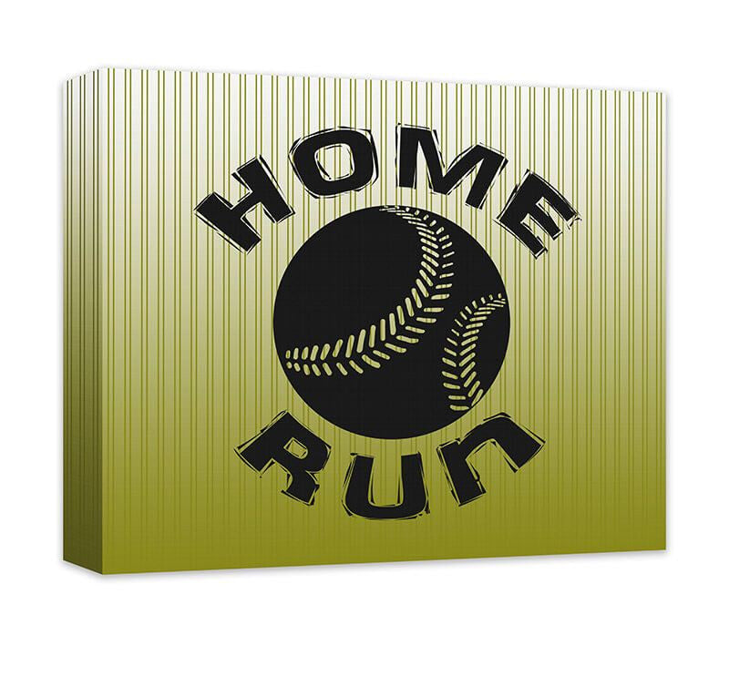 Home Run with Baseball Canvas Wall Art - WallLillies