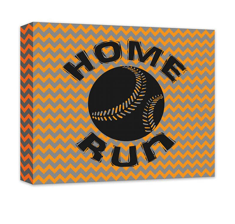 Home Run with Baseball Children's Canvas Wall Art - WallLillies