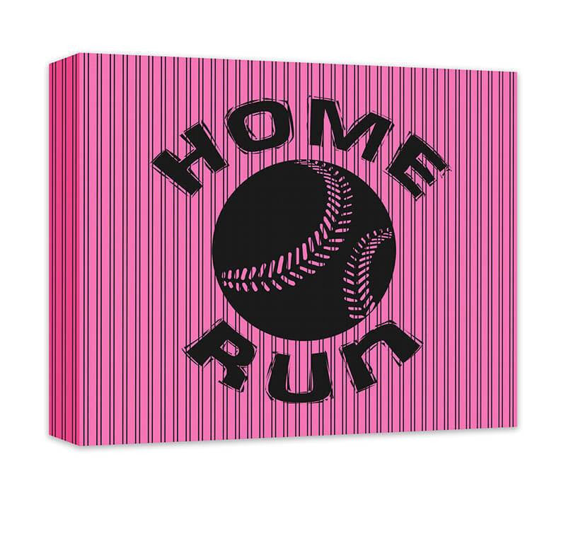 Home Run with Softball Children's Canvas Wall Art - WallLillies