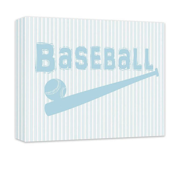 Baseball with Ball and Bat Children's Canvas Wall Art - WallLillies