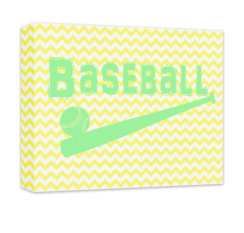 Baseball with Ball and Bat Children\'s Canvas Wall Art – WallLillies