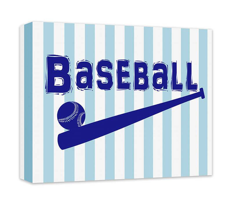 Baseball Word Art with Ball and Bat Canvas Wall Art - WallLillies