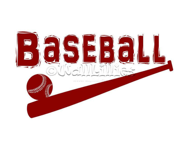 Baseball with Ball and Bat Design Decal - WallLillies