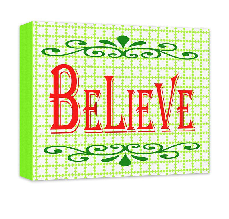 Believe II Christmas Holiday Canvas Wall Art - WallLillies