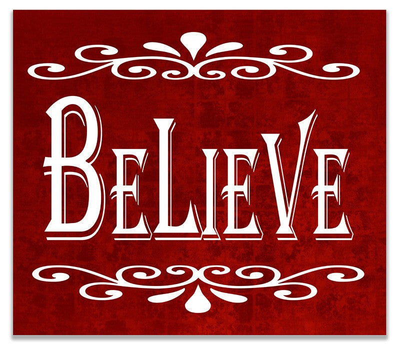 Believe II Christmas Holiday Print Wall Art - WallLillies