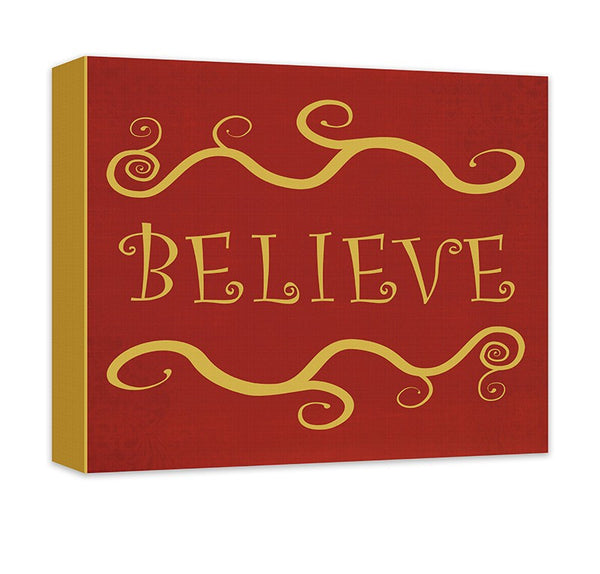 Believe I Christmas Holiday Canvas Wall Art - WallLillies