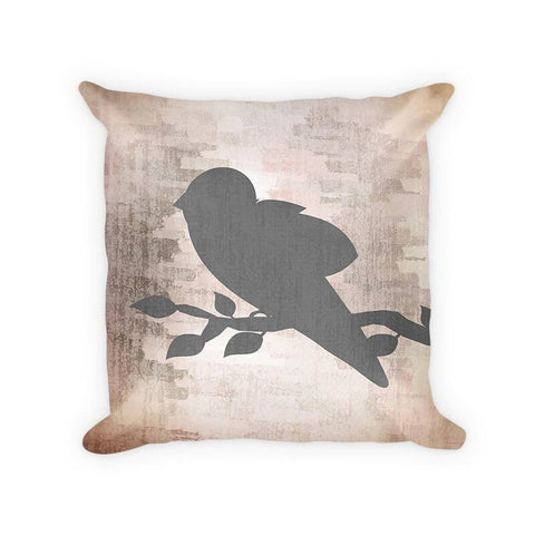 Bird on a Branch Woven Cotton Throw Pillow