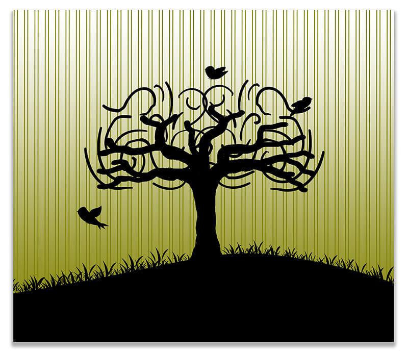 Birds in Whimsical Tree Print Wall Art – WallLillies