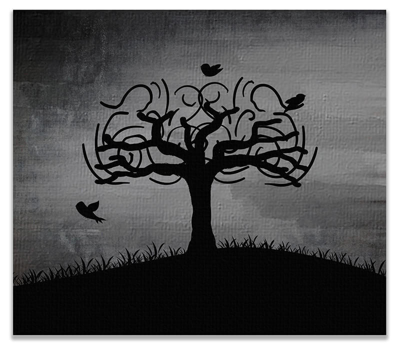 Birds in Whimsical Tree Print Wall Art - WallLillies