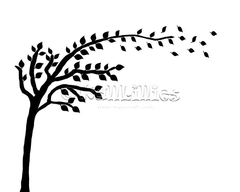 Tree with Blowing Leaves Decal