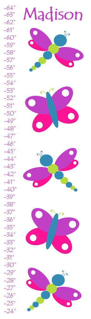 Personalized Butterfly and Dragonfly Growth Chart - WallLillies