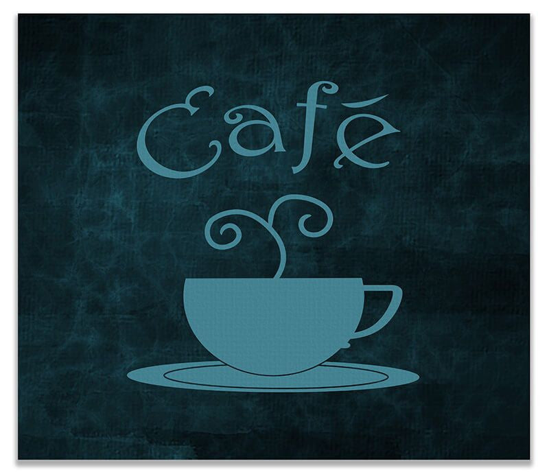 Cafe with Cup Word Art Print Wall Art - WallLillies