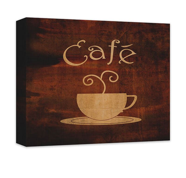 Cafe with Cup Word Art Canvas Wall Art - WallLillies
