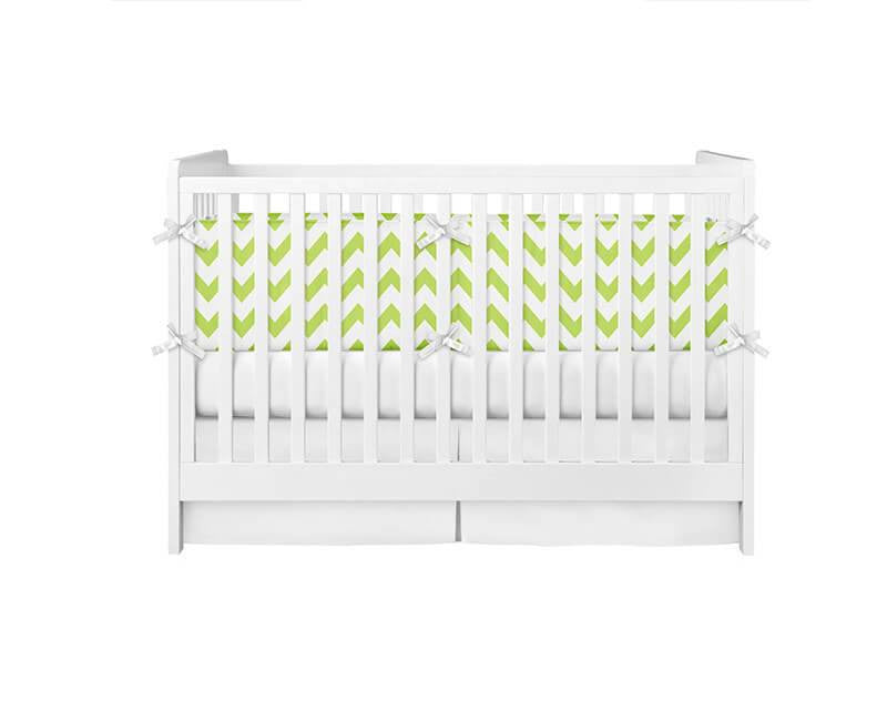 Chrome Green Chevron Crib Bumper - WallLillies