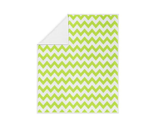 Chrome Green Chevron Pattern Fleece Blanket - WallLillies
