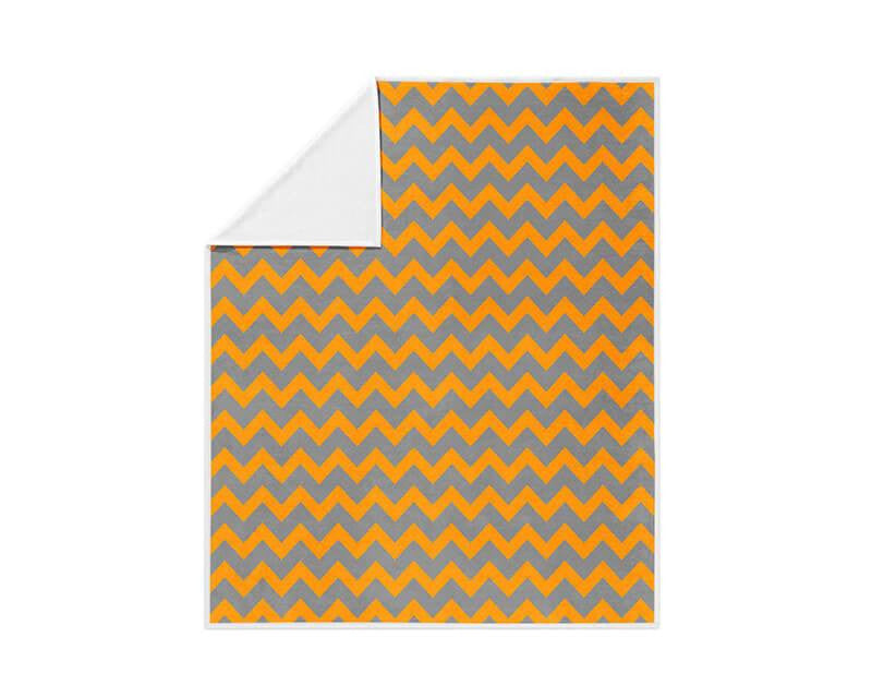 Orange and Gray Chevron Pattern Fleece Blanket