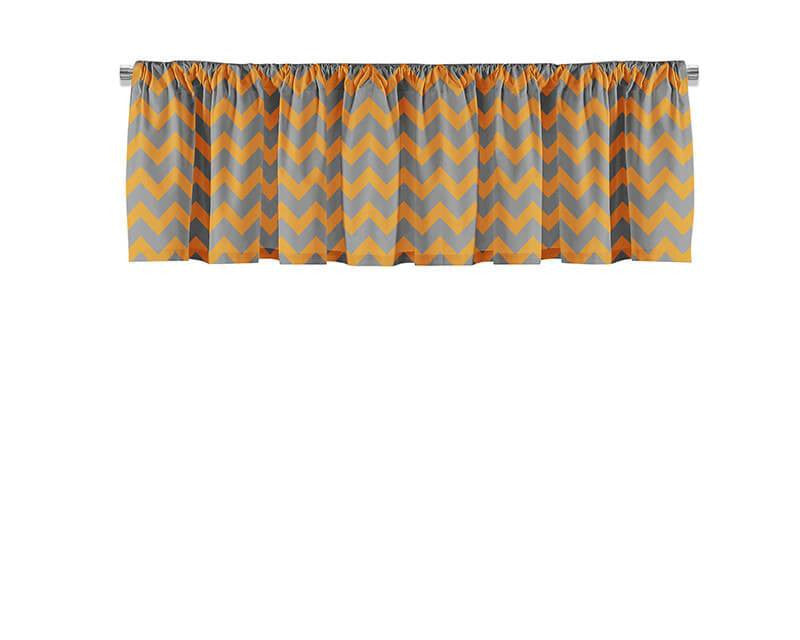 Orange and Gray Chevron Valance - WallLillies