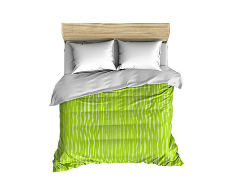 Vertical Stripes Pattern White on Solid Comforter