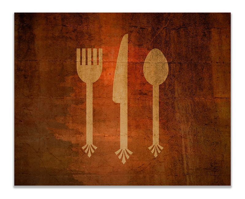 Fork Knife & Spoon Cutlery Print Wall Art - WallLillies