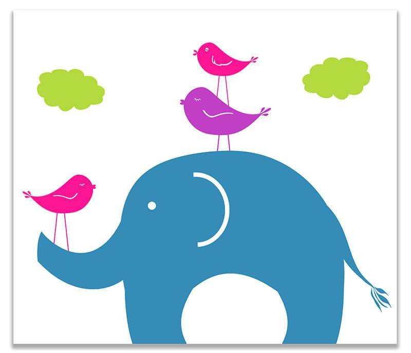 Elephant and Birds Print Wall Art - WallLillies