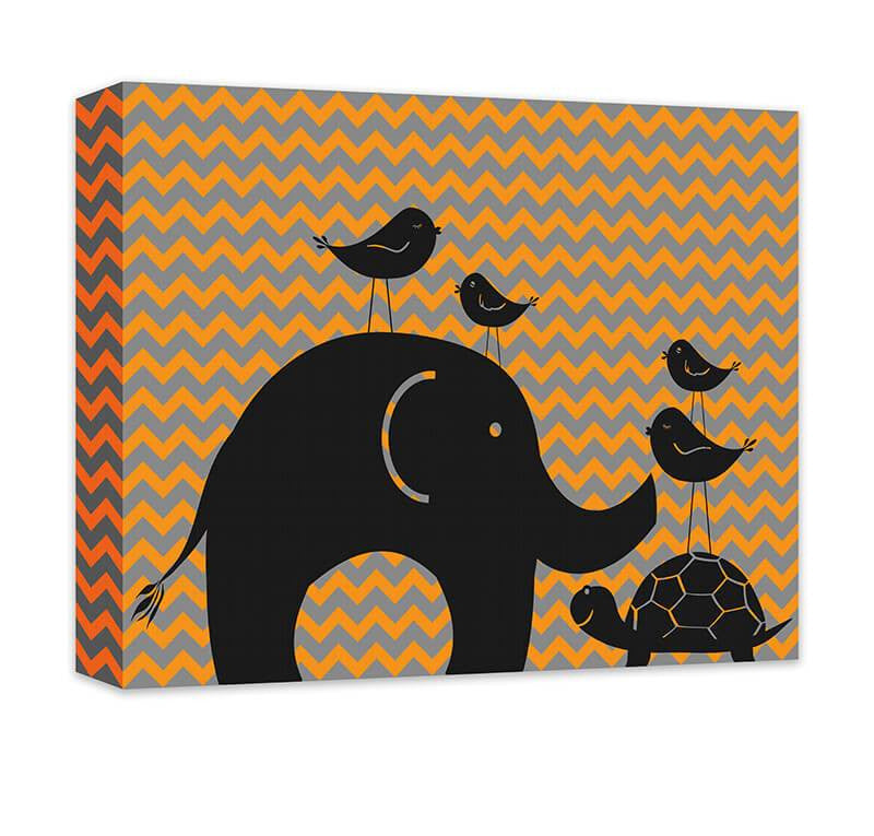 Elephant Turtle and Birds Canvas Wall Art - WallLillies