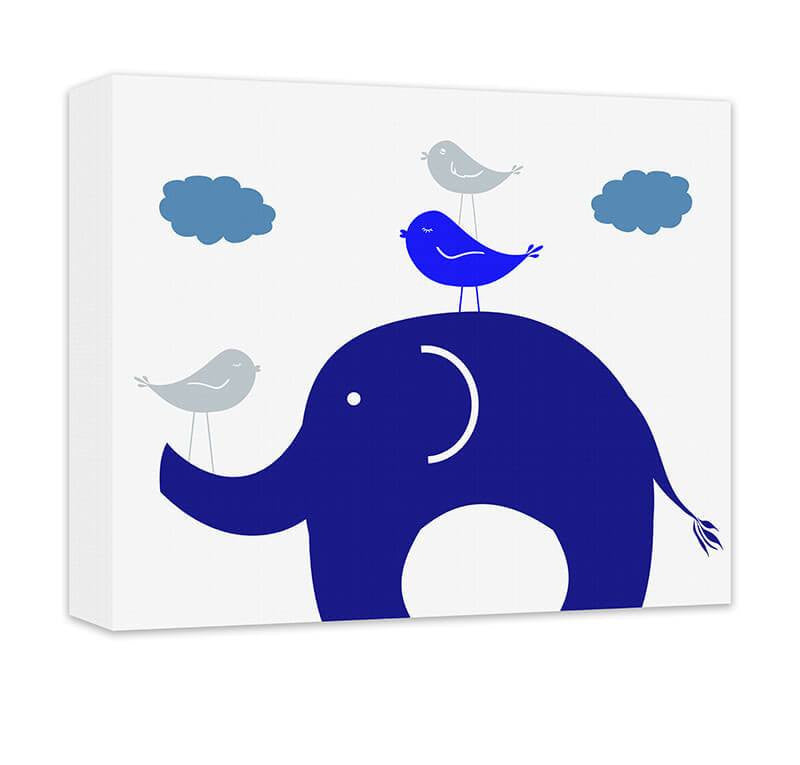 Elephant and Birds Canvas Wall Art - WallLillies