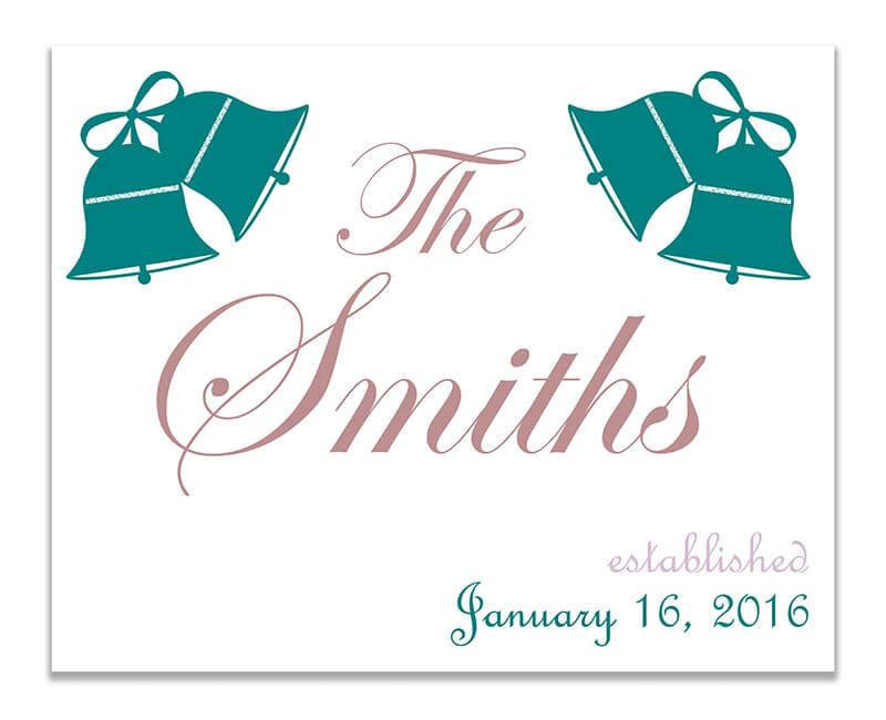 Personalized Family Established with Wedding Bells Print Wall Art - WallLillies