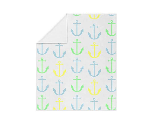 Anchor Pattern Fleece Blanket - WallLillies